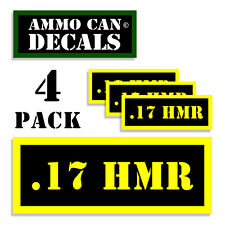 "17 HMR Ammo Can 4x Labels for Ammunition Case 3"" x 1.15"" sticker decal 4 pack YW"