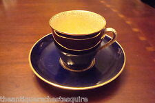 Aynsley England Cobalt blue and gold, gold inside, 5 cups and saucers[4-*59]