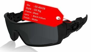 Oakley Oil Rig Matte Black Frame Black Iridium Lens Sunglasses 0OO9081