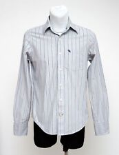 MEN ABERCROMBIE&FITCH CASUAL SHIRT LONG SLEEVE GREY BLUE STRIPED MUSCLE S SMALL