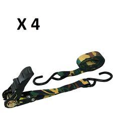 "4 pc 1""x15' Adjustable Quick Release Camouflage Truck ATV Ratchet Tie Down"
