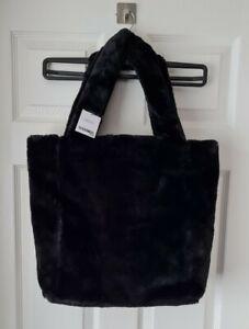 Next Ladies Faux Fur Black Large Tote Bag Bnwt r.r.p £30