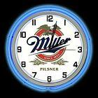 "19"" Miller Pilsner Beer Sign Blue Double Neon Clock Man Cave Garage Game Room"
