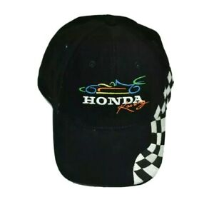 Honda Racing Cap Hat Adjustable One Size Adults Embroided Black Cars