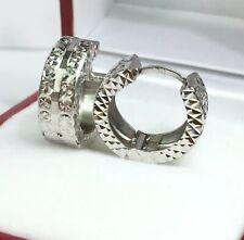 Earrings Diamond Cut Design 2.46 Grams 18k Solid White Gold Hoop Sparkle