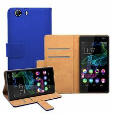 Wallet BLUE Leather Flip Case Cover Pouch Saver For Mobile Phone Wiko Ridge 4G