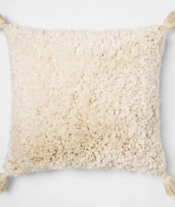 Opalhouse Cream Gold Tufted Textured Square Throw Pillow with Tassels