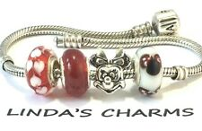 Minnie Mouse European Style Murano Glass Bead Charms Fit Silver Charm Bracelet