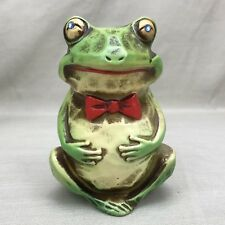 Frog Coin Bank Rhinestone Eyes Vintage 1960s Napcoware Piggy Bank Toad Bow Tie