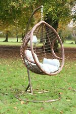 Swing Hanging Egg Chair Brown with Cushion Patio Garden Outdoor PE Rattan