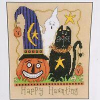 Imaginating Cross Stitch Chart Happy Haunting #1737 Cat Pumpkin Whimsical