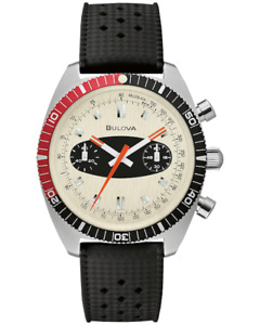 NEW BULOVA ARCHIVE CHRONOGRAPH A SURFBOARD CREAM DIAL BLACK RUBBER STRAP 98A252