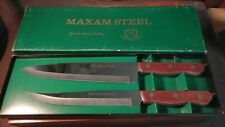 Vintage Maxam Steel Cutlery Set Of Two Kitchen Chef & Carving Knives NOS Japan