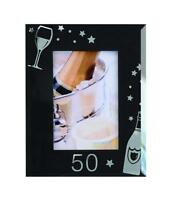 "50th Birthday Black Glass Photo Frame Gift New Boxed 4"" x 6"" 3-500-50"