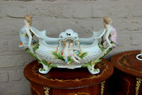 Large German Porcelain romantic caryatid putti angels planter jardiniere