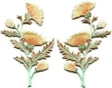 Carnation spray thistle pair flowers floral bouquet applique iron-on patch S-731