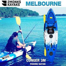 Fishing Kayak Single Sit-On 3M 5 Rod Holders Seat Paddle Melbourne Blue White