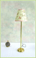 Dollhouse Miniature Electrified Brass Floor Lamp with Pink Floral Shade