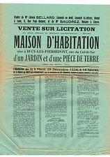 AISNE (02) / BUCY-LES-PIERREPONT / VENTE D'UNE MAISON AVEC JARDIN ET TERRE 1936