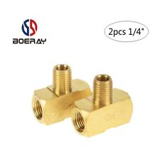 "2pcs 1/4"" 3 Way Brass Hose Tube Fitting Tee with NPT Female and Male Thread"