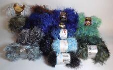 Novelty Yarn Mixed Lot Eyelash Fun Fur Boa Crafts Green Blue Gray Full & Partial