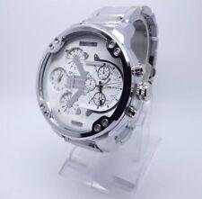 Vive Xxl Uhr DUAL TIME Armbanduhr Neu Top Silber / Weiss Herren