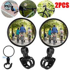 2Pcs Rotaty Round Bike MTB Road Handlebar Mirror Bicycle Rear View Glass Cycling