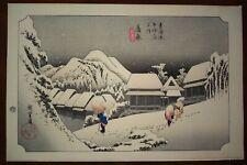 Hiroshige Evening Snow at Kanbara Takamizawa Japanese Woodblock Woodcut Print