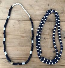 Lot Antique Vintage Strand Of Glass Beads African Trade? Blue & White Necklace