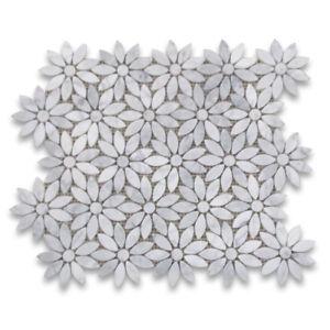 C9D0XH Carrara White Marble Daisy Flower Waterjet Mosaic Tile Honed Wall & Floor