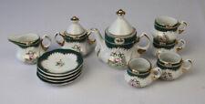 Limoges Porcelain Doll'S Tea Set Handpainted Roses