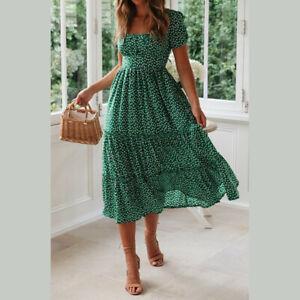 Summer Women's Vintage A-Line Maxi Dress Short Sleeve Ruffle Pleated Sundress