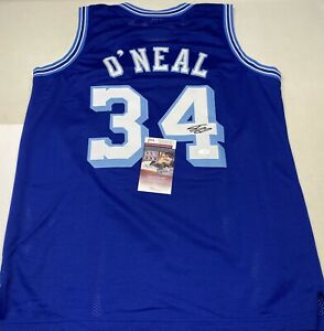 LOS ANGELES LAKERS SHAQUILLE O'NEAL SIGNED BLUE JERSEY JSA COA!!!
