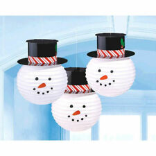 3 Snowman Paper Lanterns with Hat Hanging Decoration CHRISTMAS Winter Snow Party