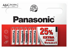 10 x AAA Panasonic Zinc Carbon Batteries LR03 1.5V MN2400 Exp Nov 2019