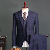 2020 Navy Check Slim Fit Men's Suits Groom Tuxedos Formal 38 40 42 44+ Custom