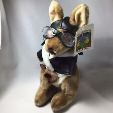 Kangaroo Joey Pilot Cap Goggles Scarf Biker Jacket Plush Australian Souvenir Tag