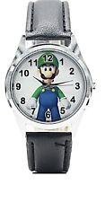 Super Mario Luigi Character Leather Band Wrist Watch