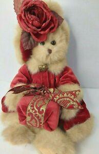 Bearington Collection Virginia Teddy Bear Velvet Coat Present Ribbon Christmas