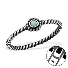 TJS 925 Sterling Silver Midi Ring Round Fire Snow Opal US Size 3.5 Band Oxidised