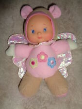 "Doll Butterfly Baby Pink Tan Crinkle Wings Rattle Squeak City Toy 9"" plush vinyl"