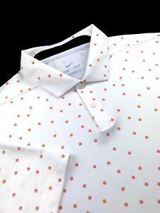 Nike Golf Dri-Fit Floral Vapor Polo Short Sleeve Shirt White Men Sizes M L 2XL