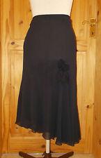 PER UNA M&S black chiffon midi asymmetric evening party STEAMPUNK skirt 14R 42