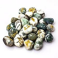 Dendritic Agate Stone Spritual Rune Set Natural Healing Crystal Tumble Gemstone