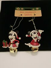 ❄🎅Disney Parks~Santa Mickey & Minnie Mouse Bell Christmas Ornament Set Bells❄🎅