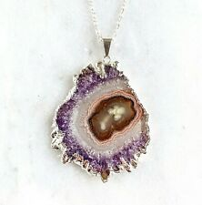 Amethyst Stalactite Slice Pendant - Silver Plated - Necklace Amethyst Flower