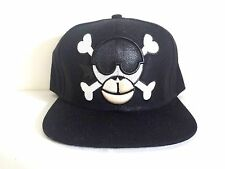 Monkey Skull Black Embroidered Snapback Cap