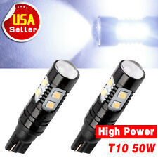 2 X Cool White 50W T10 High power LED Reverse Back up Light Tail 1400LM 921 US