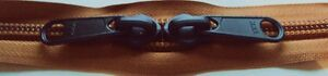 YKK Nylon Coil Zipper Tape # 10 Copper 5 yards with 10 Black Zipper Sliders