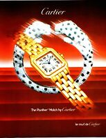 """Vintage 1987 Cartier """"The Panther"""" Watch Print Ad"""